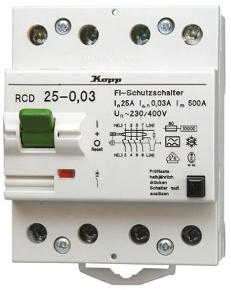 4P 63 A, Instantaneous RCD Switch, Trip Sensitivity 300mA, DIN Rail product photo