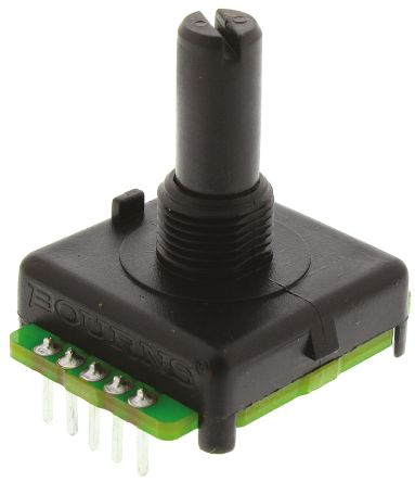 Bourns 128 Pulse Absolute Mechanical Rotary Encoder with a 6 35 mm Plain  with Slot Shaft (Not Indexed), Bracket Mount