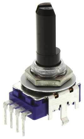 Alps Rotary Carbon Film Potentiometer with a 6 mm Dia. Shaft, 50kΩ, ±20%, 0.05W, Linear RK11K1140A63