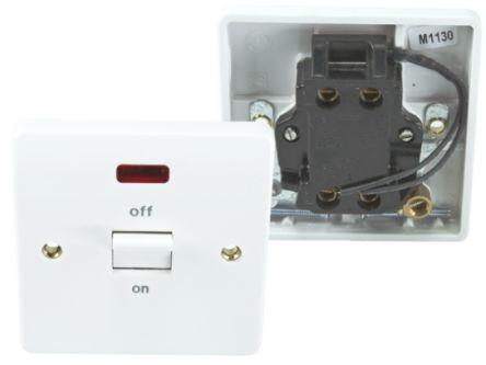 Mk Logic K5105WHI 32 Amp Double Tringle Interrupteur Néon-Deep Plaque
