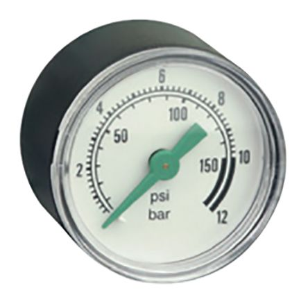 Asco 34300014 Analogue Positive Pressure Gauge Pneumatic 12bar, Connection Size G 1/8