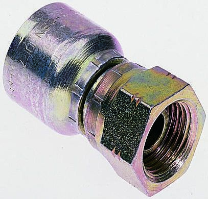 BSP 1/4 Female Straight Steel Crimped Hose Fitting, 400 bar product photo