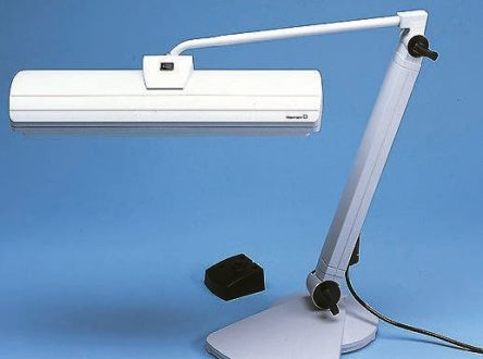 Waldmann Compact Fluorescent Desk Lamp, 36 W, Reach:830mm, Adjustable Arm, Grey, 230 V, Lamp Included