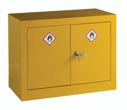 Yellow Steel Lockable 2 Doors Hazardous Substance Cabinet, 712mm x 915mm x 459mm product photo