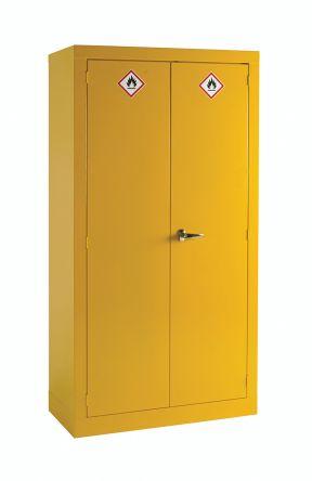 rs pro yellow steel lockable 2 doors hazardous substance cabinet