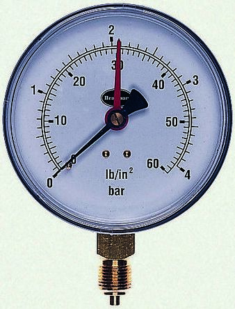 34/651/0 Analogue Positive Pressure Gauge Bottom Entry 1bar, Connection Size BSP 3/8 RS Calibration product photo