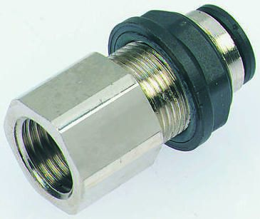 Legris Pneumatic Bulkhead Threaded-to-Tube Adapter, Push In 4 mm, G 1/4 Female BSPPx4mm