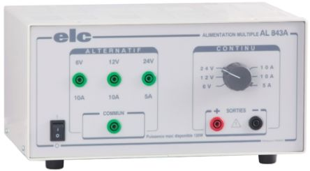 AL 843A Bench Power Supply 6 V, 12 V, 24 V 5 A, 10 A 120W product photo