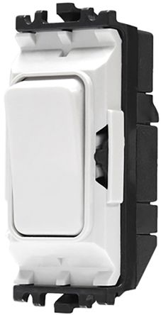 White 20 A Toggle Light Switch MK White, 1 Way Clip In Semi Gloss, 1 Gang MK Grid, 250 V ac 86mm Not Illuminated IP2X