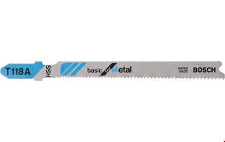 Bosch T-Shank Jigsaw Blade Set For Metal; Hardwood; Softwood; Chipboard; Non-Ferrous Metal; Aluminium, 50mm Cutting