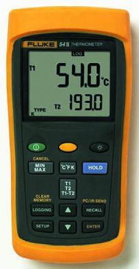 Fluke Fluke 54 II B Digital Thermometer, 2 Input Handheld, E, J, K, N, R, S, T Type Input