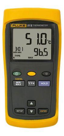 Fluke 51 Digital Thermometer, 1 Input Handheld, E, J, K, T Type Input