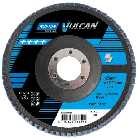 Norton Zirconium Dioxide Medium Flap Disc, 80 Grit, 13500rpm, 115mm x 22mm Bore