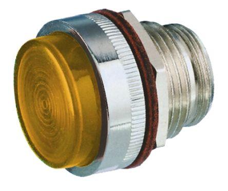 LED Panel Mount Indicator Lens & Lampholder Combination, Amber Flat Lens