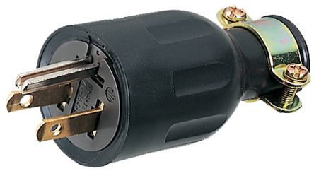 American Denki Japanese Mains Plug NEMA 5 - 15P, 15A, Cable Mount, 125 V ac