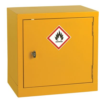 Yellow Steel Lockable 1 Doors Flammable Cabinet, 457mm x 457mm x 305mm product photo