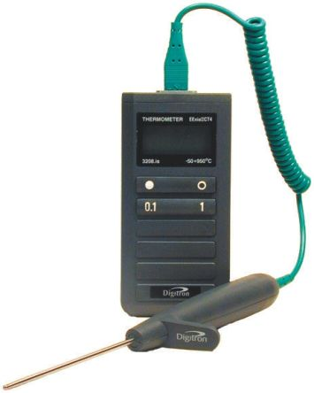 Digitron 3208IS Digital Thermometer, 1 Input Handheld, K Type Input, Intrinsically Safe With UKAS Calibration