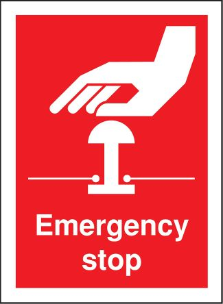 RS PRO Vinyl Red Safe Conditions Label, Emergency Stop, English