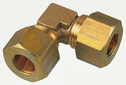 10mm 90° Equal Elbow Brass Compression Fitting product photo