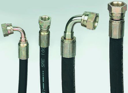 1500mm Synthetic Rubber Hydraulic Hose Assembly, 275 bar Max Pressure, -40  → +100°C