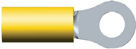 TE Connectivity PLASTI-GRIP Series Insulated Crimp Ring Terminal, M5 Stud Size, 2.6mm² to 6.6mm² Wire Size, Yellow