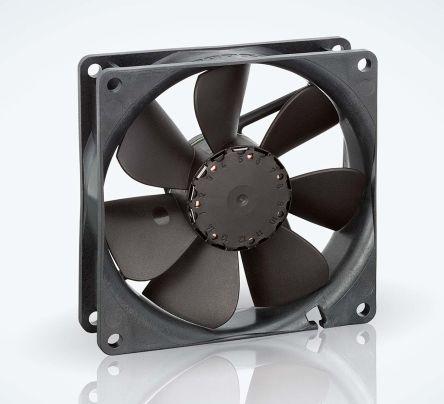 ebm-papst, 12 V dc, DC Axial Fan, 92 x 92 x 25mm, 102m³/h, 2.9W, IP20