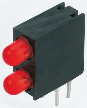 Kingbright L-93A8EB/2SRD, Red Right Angle PCB LED Indicator, 2 LEDs, Through Hole 2.5 V
