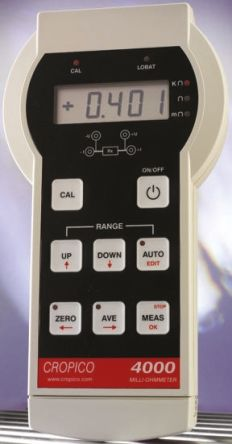 Cropico, Model DO4000 Ohm Meter, Maximum Resistance Measurement 4 kΩ, Resistance Measurement Resolution 10μΩ,