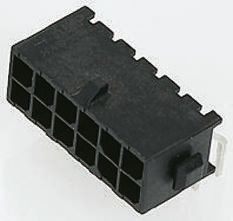 TE Connectivity, Micro MATE-N-LOK, 6 Way, 2 Row, Right Angle PCB Header