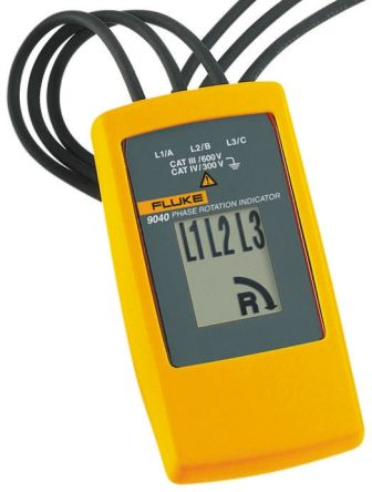 FLUKE 9040/UK Phase Rotation Tester CAT III 600V, CAT IV 300V LCD CAT III 600 V, CAT IV 300 V 400Hz 700V, Model 9040