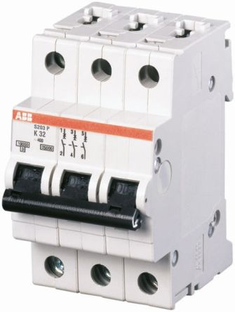 ABB Disyuntor Mini MCB 3P, 16 A, Capacidad De Ruptura 6 KA, Disparo Tipo K, System M Pro, S203-K16