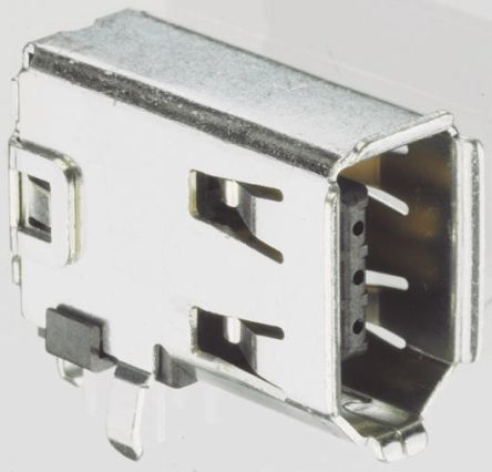 TE Connectivity 6 Way Right Angle Through Hole Firewire Connector Socket