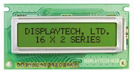 Displaytech 162B-BC-BC Alphanumeric LCD Display, Yellow on Green, 2 Rows by 16 Characters, Transflective