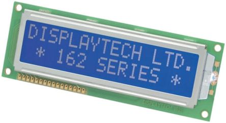 Displaytech 202B-CC-BC-3LP Alphanumeric LCD Display, Black on Blue, 2 Rows by 20 Characters, Transflective