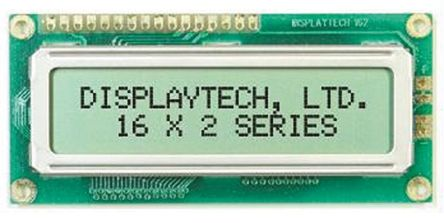 Displaytech 162C-BC-BC Alphanumeric LCD Display, Yellow on Green, 2 Rows by 16 Characters, Transflective