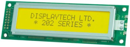 Displaytech 202A-BC-BC Alphanumeric LCD Display, Yellow on Green, 2 Rows by 20 Characters, Transflective