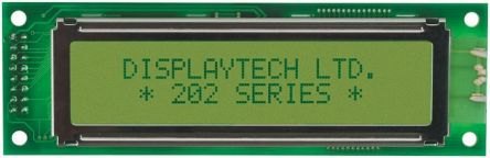 Displaytech 202A-BA-BC Alphanumeric LCD Display, Yellow on Green, 2 Rows by 20 Characters, Reflective