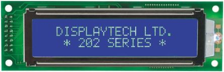 Displaytech 202A-CC-BC-3LP Alphanumeric LCD Display, White on Black, 2 Rows by 20 Characters, Transflective
