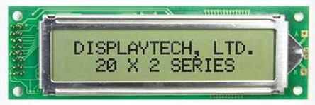 Displaytech 202A-FC-BC-3LP Alphanumeric LCD Display, White on Black, 2 Rows by 20 Characters, Transflective