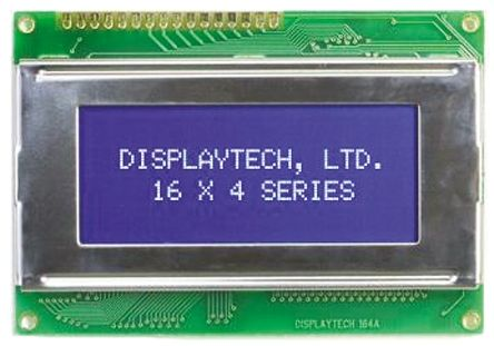Displaytech 164A-BC-BC Alphanumeric LCD Display, Yellow on Green, 4 Rows by 16 Characters, Transflective