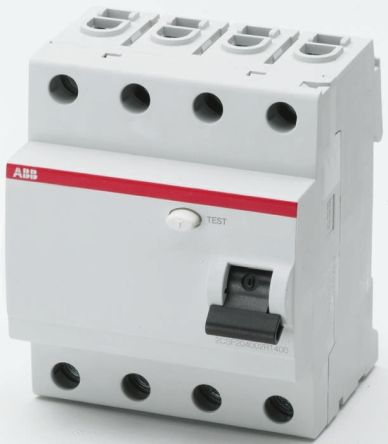ABB 4 Pole Type AC Residual Current Circuit Breaker, 25A FH200, 30mA