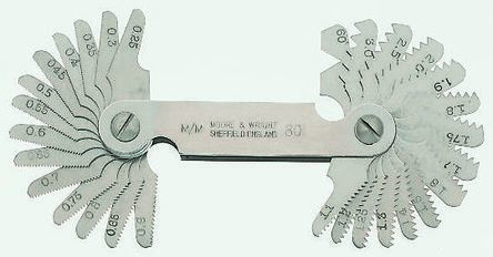 Neill Tools, 12 Blades Thread Pitch Gauge, Metric thread type