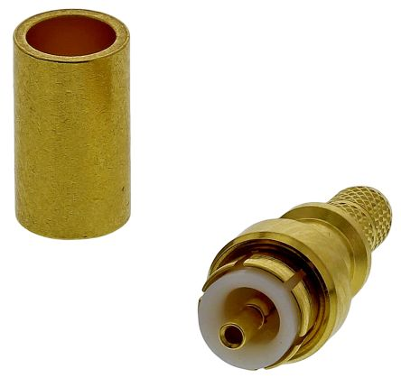 Huber & Suhner 50Ω Straight Cable Mount MMBX Connector, Plug, Crimp Termination, 0 → 6GHz, RG174/U, RG188 A/U,