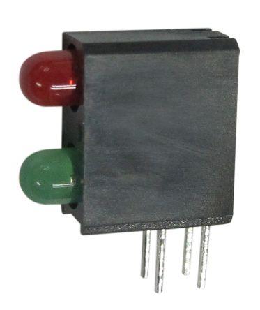 Kingbright L-710A8MD/1LI1LGD, Green & Red Right Angle PCB LED Indicator, 2 LEDs, Through Hole 2.5 V