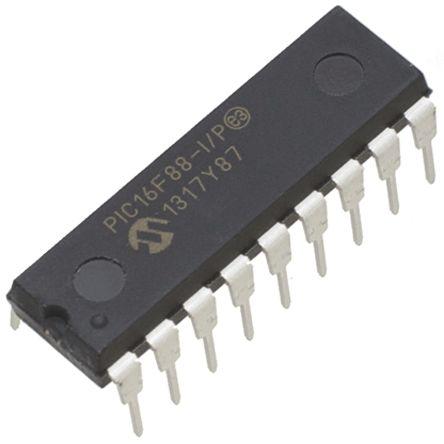Microchip PIC16F88-I/P, 8bit PIC Microcontroller, 20MHz, 7 168 kB, 256 B  Flash, 18-Pin PDIP