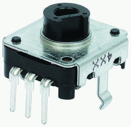 Alps Alpine 24 Pulse Incremental Mechanical Rotary Encoder with a 6 mm Hollow Shaft (Not Indexed), Through Hole
