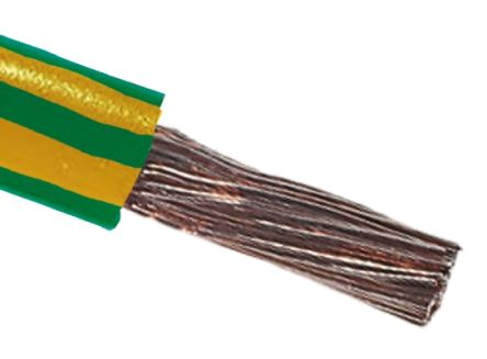 RS Pro Green/Yellow Tri-rated Cable, 25 mm² CSA, 600 V, 136 A, 100m |