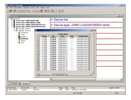 PCC-Programm . Software - PCA Communication Server for use with Jumo Indicator, Jumo Recorder, Jumo Temperature