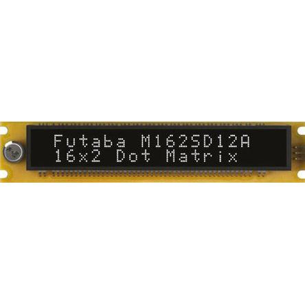 Futaba M162SD12AA Vacuum Fluorescent Display 7 x 5 2 Rows x 16 Char. ASCII/Katakana Serial I/F 5.5mm Char Height 4.5