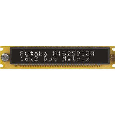 Futaba M162SD13AA Vacuum Fluorescent Display 7 x 5 2 Rows x 16 Char. ASCII Serial I/F 5.5mm Char Height 4.5 →